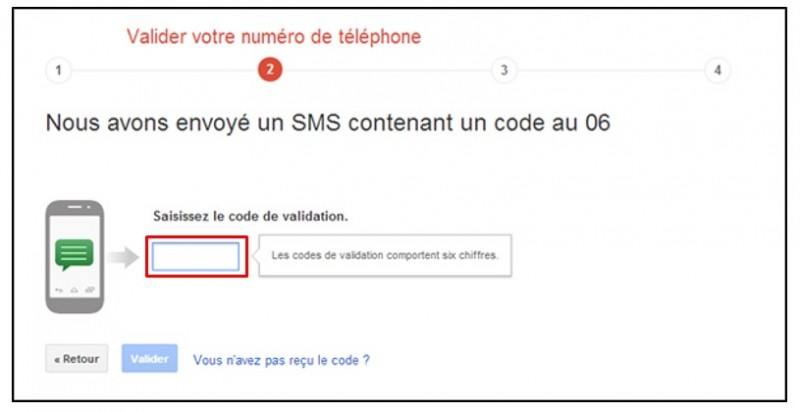 securiser son compte Google avec la validation en 2 etapes - confirmer le code de validation