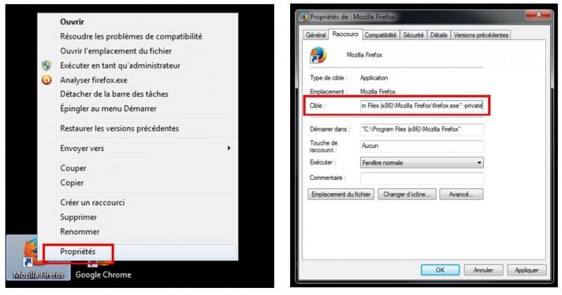 utiliser la navigation privee - Firefox avec un lien hypertexte