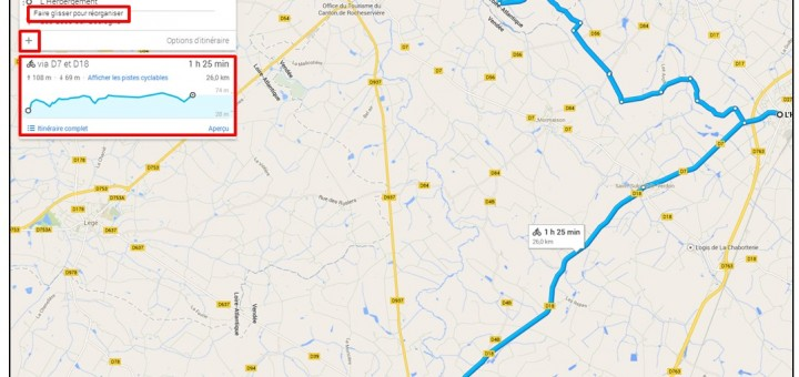 creer un trajet a velo avec Google Map - ajouter des etapes a un itineraire velo