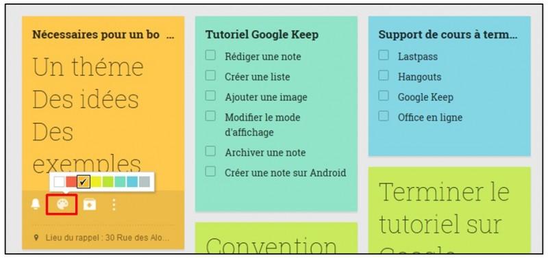 Prendre des notes avec Google Keep - definir une couleur