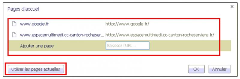 Utiliser le navigateur Google Chrome - choisir une page de demarrage