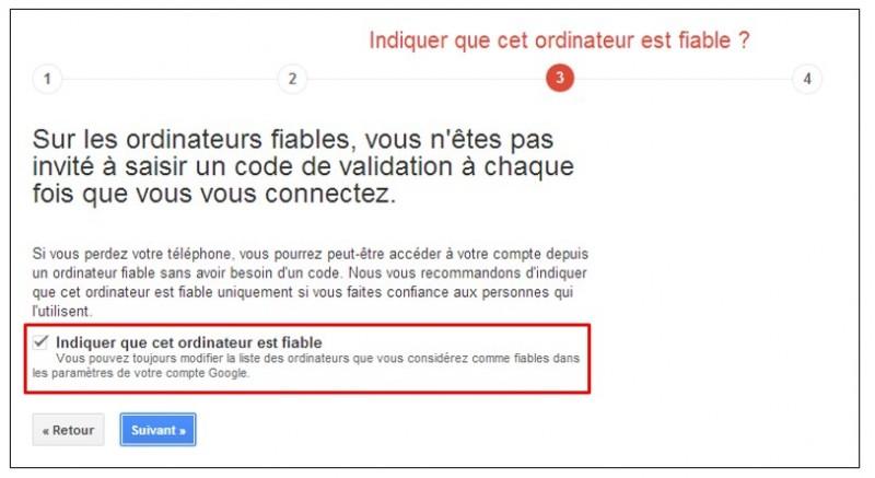 securiser son compte Google avec la validation en 2 etapes - ajouter un ordinateur fiable