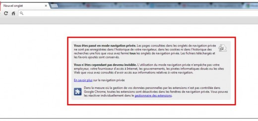 utiliser la navigation privee - Google Chrome