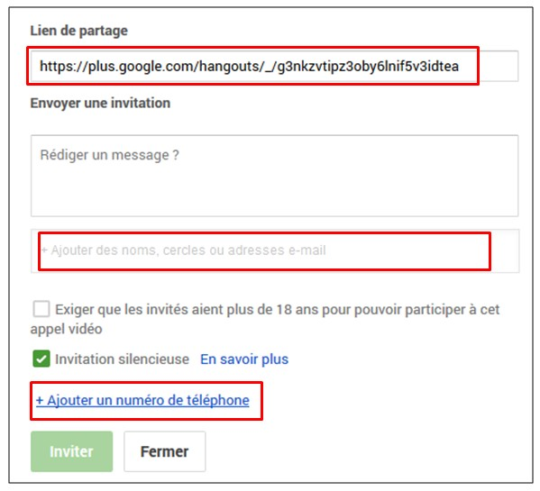 creer une video conference avec Google Hangouts - inviter des contacts a utiliser hangouts
