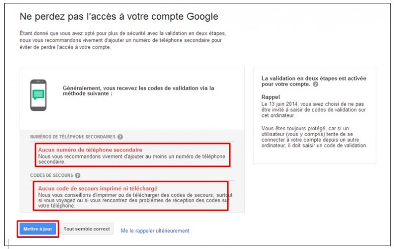 securiser son compte Google avec la validation en 2 etapes - parametrer les options de recuperation