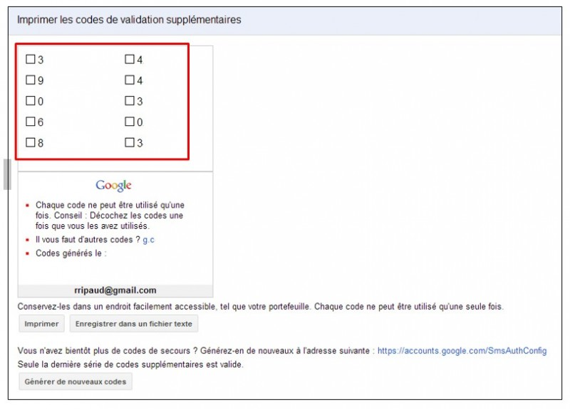 securiser son compte Google avec la validation en 2 etapes - imprimer des codes supplementaires