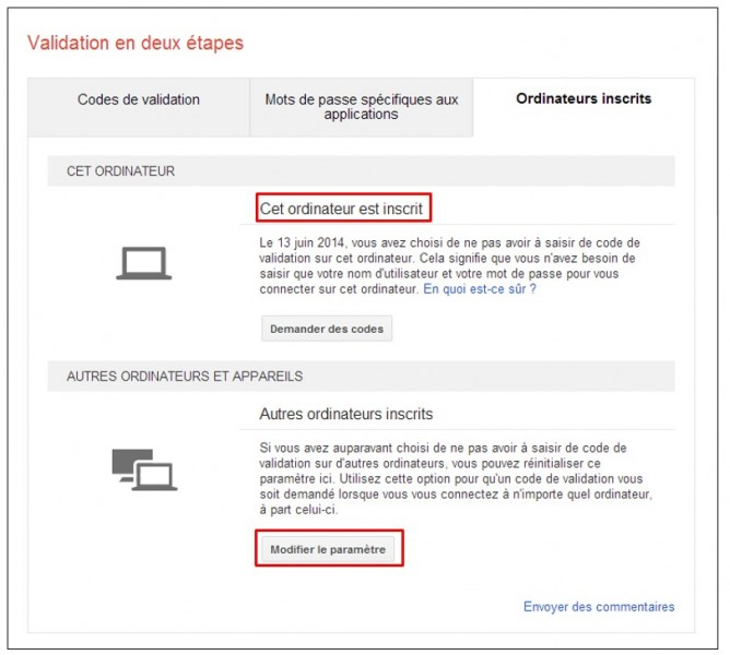 securiser son compte Google avec la validation en 2 etapes - ordinateurs fiables