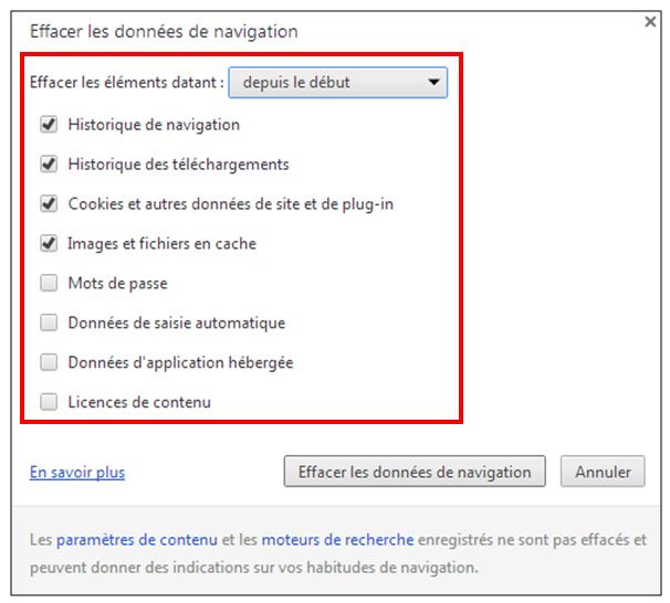 Utiliser le navigateur Google Chrome - effacer les donnees de navigation