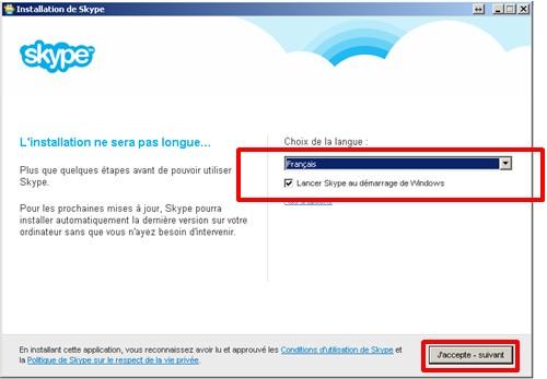 04 - Skype communiquez gratuitement avec vos contacts - installation choix de la langue