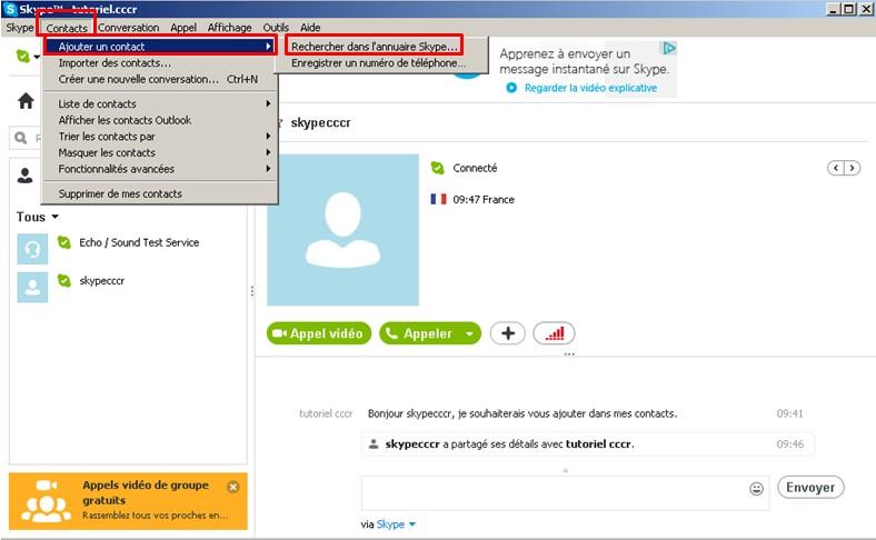 15 - Skype communiquez gratuitement avec vos contacts - rechercher un contact dans l annuaire skype