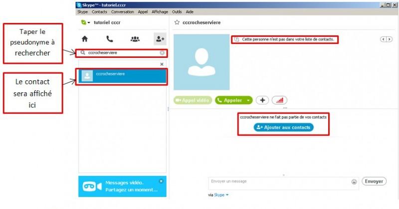 Skype communiquez gratuitement avec vos contacts - taper dans la barre de recherche le contact a trouver
