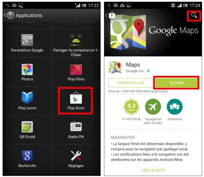 consulter une carte Google Maps hors connexion sur son mobile - mise a jour de Google Maps