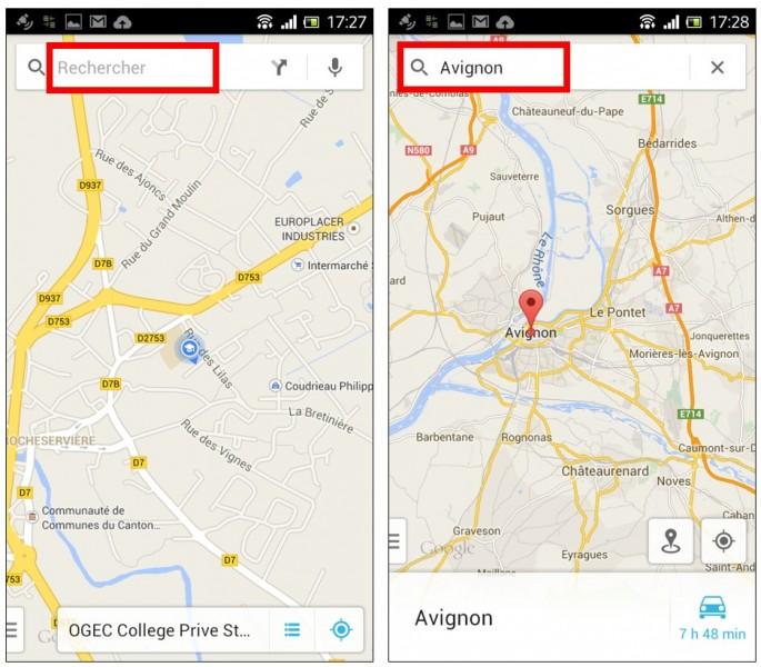 consulter une carte Google Maps hors connexion sur son mobile - rechercher un lieu