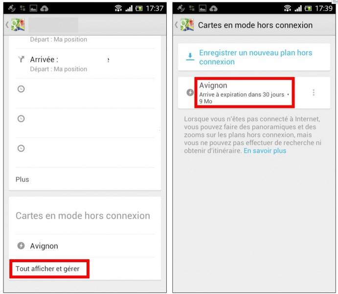 consulter une carte Google Maps hors connexion sur son mobile - afficher une carte enregistree