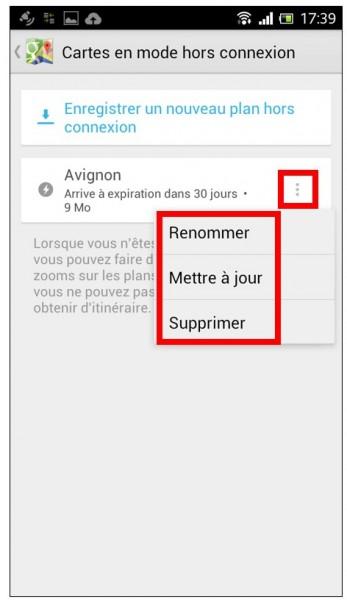 consulter une carte Google Maps hors connexion sur son mobile - modifier une carte enregistree