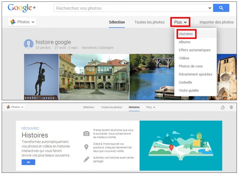 creer des albums photos depuis son mobile avec Google Histoires - afficher les histoires depuis un ordinateur