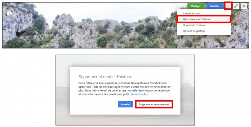 creer des albums photos depuis son mobile avec Google Histoires - recommencer l histoire