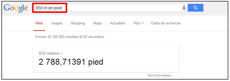 Tutoriel - gagner du temps dans ses recherches Google - convertir des unites