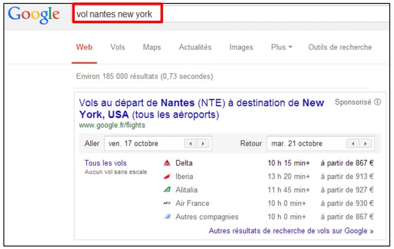 Tutoriel - gagner du temps dans ses recherches Google - Connaitre les vols entre deux aeroports