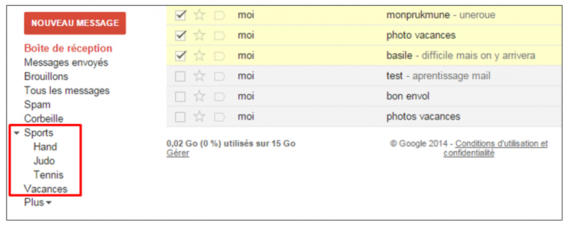 Tutoriel Gmail - gestion des messages - visualiser un libelle