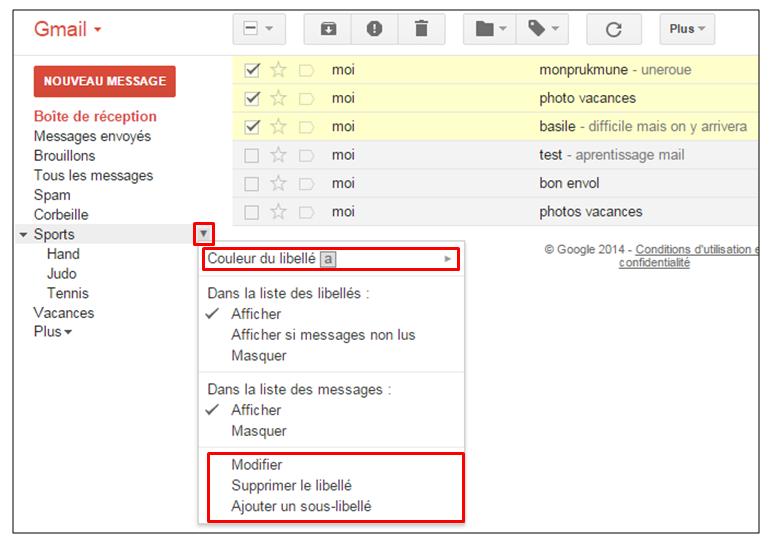 tutoriel Gmail - gestion des messages - modifier un libelle