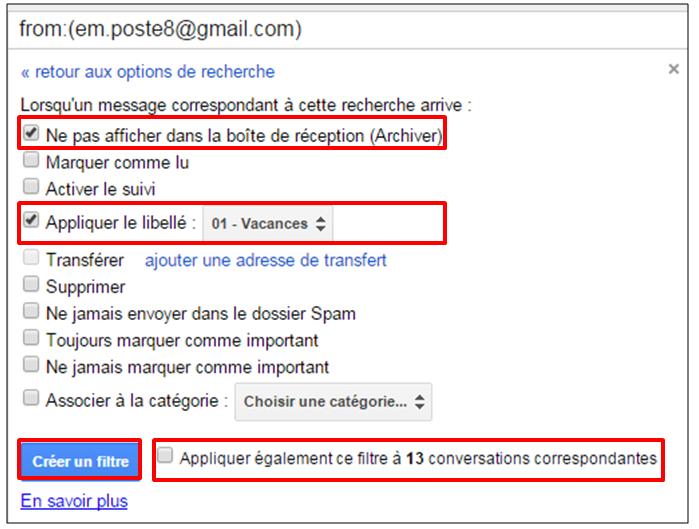 Tutoriel Gmail - gestion des messages - fonctions du filtre