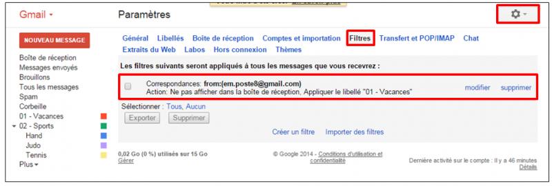 Tutoriel Gmail - gestion des messages - liste des filtres