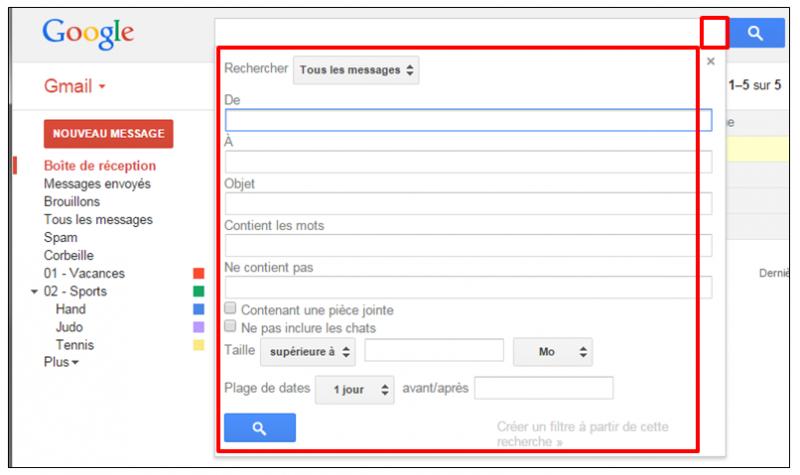 Tutoriel Gmail - gestion des messages - fonctions de recherche avancee des messages