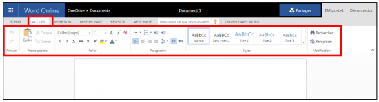 decouverte du traitement de texte Word Online - onglet accueil