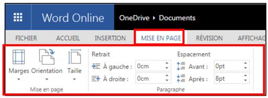 decouverte du traitement de texte Word Online - onglet mise en page