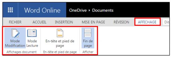 decouverte du traitement de texte Word Online - onglet affichage