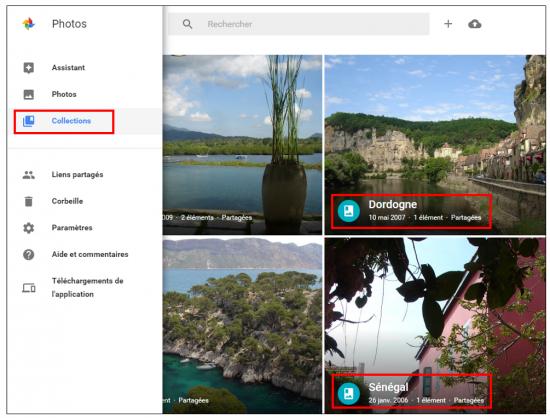 04 - Google Photos stockage gratuit et illimite de photos en ligne - Onglet collections