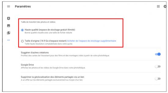 05 - Google Photos stockage gratuit et illimite de photos en ligne - Parametres