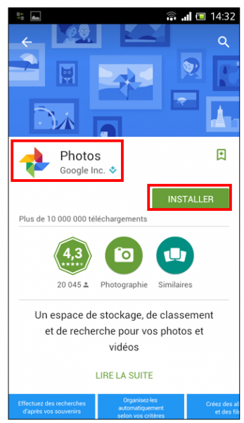 07 - Google Photos stockage gratuit et illimite de photos en ligne - Application Android Google Photos