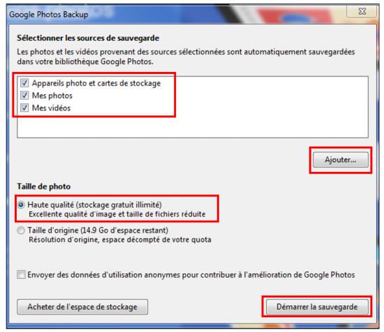 11 - Google Photos stockage gratuit et illimite de photos en ligne - Parametrer le transfert de photos