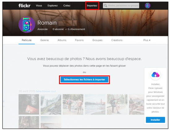 Flickr service de stockage et de partage de photos en ligne - importer des photos