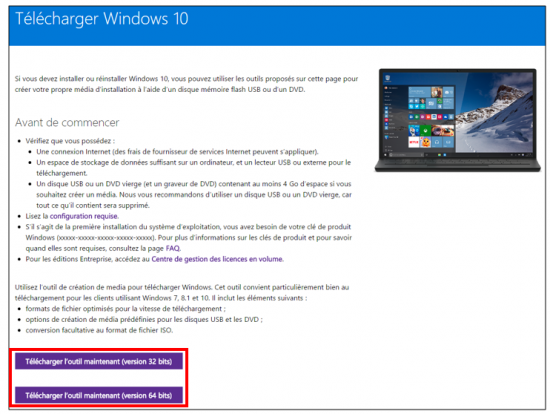 Créer un support d'installation Windows 10 - Télécharger l'outil de création de média
