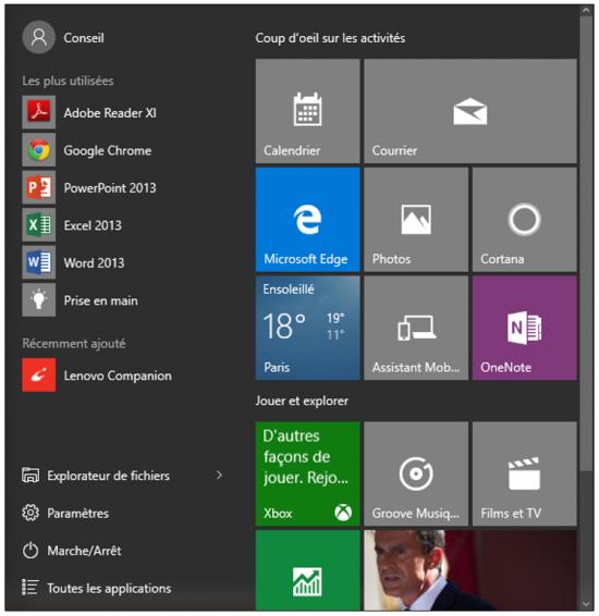 Les principales nouveautés de Windows 10 - Le menu démarrer