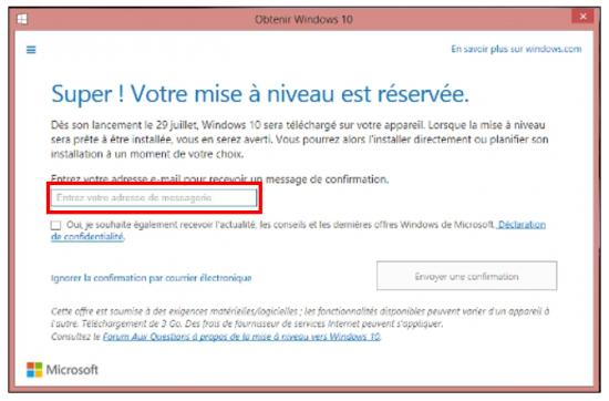 Mise à jour Windows 7 et 8.1 vers Windows 10 - Etre informer de l'installation