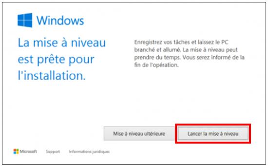 Mise à jour Windows 7 et 8.1 vers Windows 10 - Lancer la mise à niveau