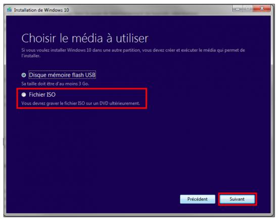 Créer un support d'installation Windows 10 - Choix du média à créer