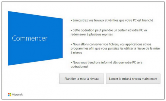 FAQ Windows 10 - Démarrer la mise à niveau