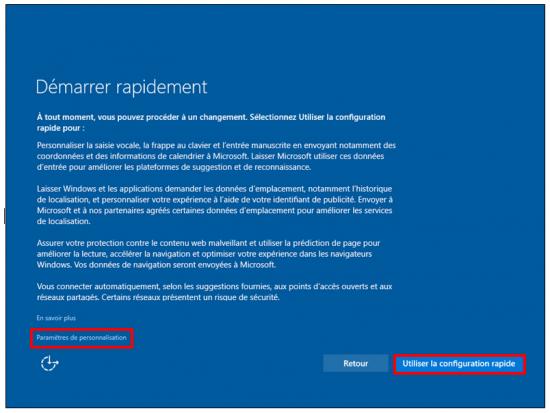 Mise à jour Windows 7 et 8.1 vers Windows 10 - Personnalisation