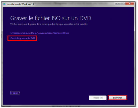 Créer un support d'installation Windows 10 - Graver l'image ISO