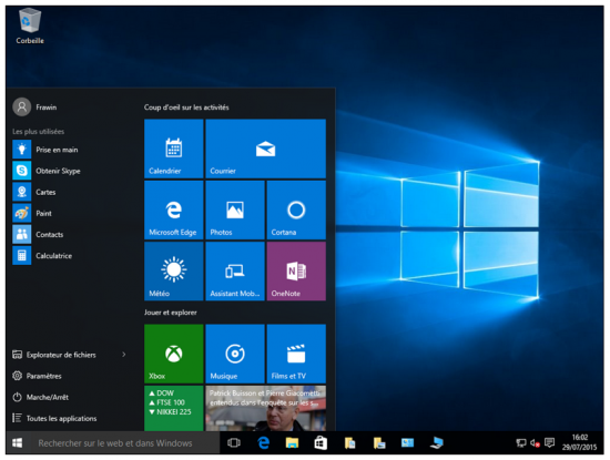 Mise à jour Windows 7 et 8.1 vers Windows 10 - Nouvelle interface Windows 10