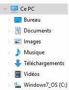 Les dossiers proposés par Windows 10