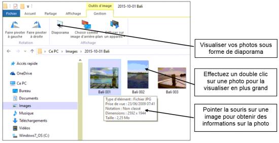 Afficher les photos dans l'explorateur Windows 10