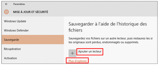 Utilitaire de sauvegarde Windows 10