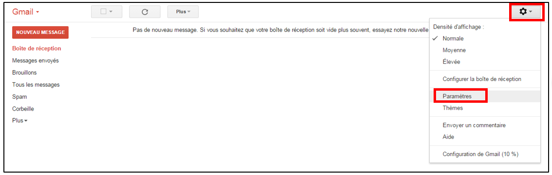 message d absence gmail