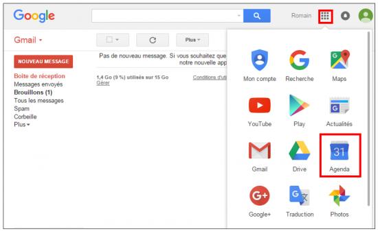 Accéder à Google Agenda depuis Gmail
